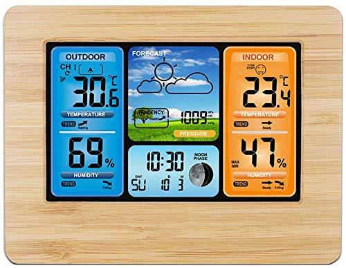 Knoijijuo Estación meteorológica Habitaciones Sensor Exterior inalámbrico termómetro higrómetro...