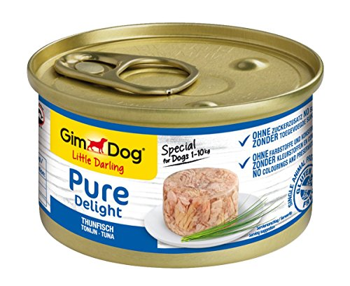 GimDog Pure Delight Thunfisch – proteinreicher Snack in köstlichem Gelee – speziell für Hunde bis 10 kg – ohne Zuckerzusatz – 12 Dosen (12 x 85 g)