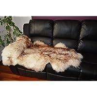 Brown white Sheepskin Rug Soft Wool amazing (xlarge)
