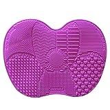 Estera Limpiadora de Cepillos de Maquillaje de silicona, Almohadilla Limpiadora de Limpieza Con 7 Lechones de Adsorción Sólidos Separados Para Pincel Facial y de Ojos - Light Purple