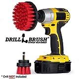 Drill Brush - Trapano Kit Spazzola - Spazzola per la Pulizia - Trapano Trapano Attacco Stiff-Red