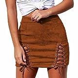 IMJONO Jupe Femme en Daim SexyTaille Haute Jupe A-Ligne Mini Jupe Bandage Crayon Casual Skirt Élastique Jupe Courte (Marron,S)