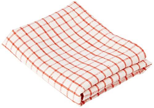 Linenme Torchons, 42x69 cm, collection Gingham, en lin, Set de 2,blanc/rouge