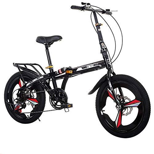 Grimk 20 Zoll Klapprad Faltrad Aluminium Damen Leicht Falträder Klappräder Männer Faltbar Fahrrad Erwachsene Mit Kinder Citybike Herren Klappfahrrad Urban Bike,Black