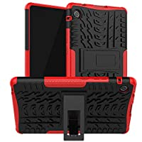 FanTing Case for Huawei MatePad T8 8.0, Detachable 2 in 1 Shockproof Cover [Drop Resistance] [High Impact] [Heavy Duty] [TPU+PC] With stand function Protective Case -Red
