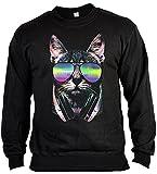 Cool bedruckter Pullover Sweater DJ Cat Katze Katzen Cat Geschenk für Katzenhalter Pulli Geschenk für Katzenbesitzer Weihnachtsgeschenk