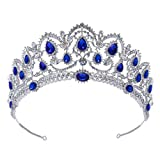 SWEETV Couronne de Mariage pour Femme - Diadème de Princesse en Strass, Couronne de Reine Accessoires Cheveux, Bleu