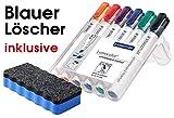 Staedtler Lumocolor 351 B WP6 Whiteboard-Marker, Keilspitze ca. 2 oder 5 mm Linienbreite, Set mit 6 Farben, hohe Qualität, trocken und rückstandsfrei abwischbar von Whiteboards (Marker + Whiteboardlöscher, Marker + blauer Boardlöscher, 1)