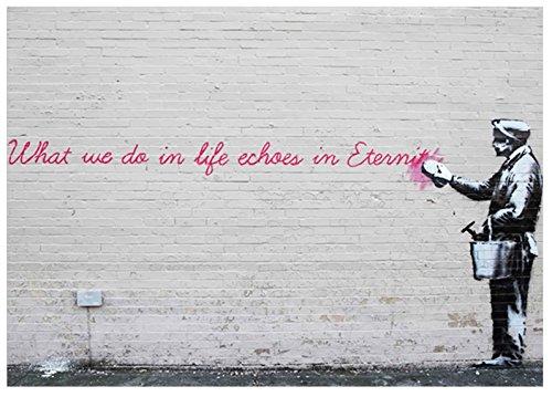 You Frame Banksy 40x 76,2Lienzo Trabajo con Iconic 'lo Que Hacemos en Vida Ecos Eternity' impresión Sobre un Marco de probar de Aluminio