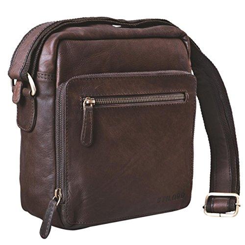 Stilord 'nathan' borsello da uomo a tracolla in pelle piccola borsa messenger in cuoio a spalla per viaggi escursioni, colore:ebano - marrone