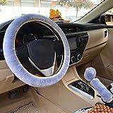 Coprivolante per auto 3 in 1 Soft Leopard Impugnatura del freno a mano Coperchio leva leva Coperture 38 cm Breve peluche inverno caldo per tutte le auto Beige