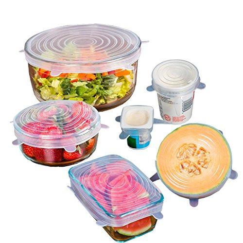 Couvercles Extensibles Couvercles en Silicone conservation des aliments Une serie de 6 tailles différentes (Transparente-6 pièce/lot)