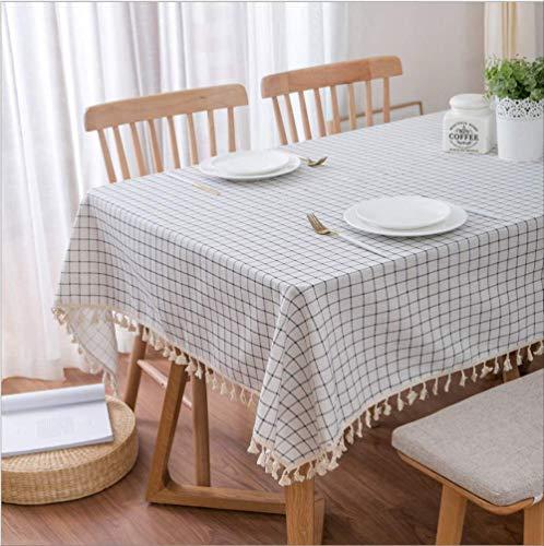 LFHDSUI Mediterrane Tischdecke aus Baumwollleinen literarische Tee Tisch Su-GAI Handtuch weiß-Boden blau Karierten Tischdecke 140 x 250 cm