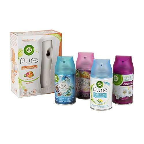 Air Wick Freshmatic Max automatischer Lufterfrischer Starter-Set Mix, Gerät + 5 Raumsprays (Orange und Grapefruit, Zitronenblüte, Tag am Meer, Sommervergnügen, Seide und Lilienfrische), 5 x 250ml