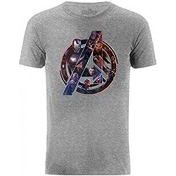 Avengers Infinity War - Camiseta con Logo de los Vengadores y Personajes (Pequeña (S)/Gris)