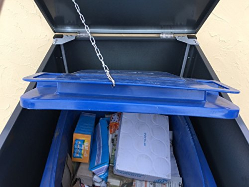 BBT@ | Hochwertige Mülltonnenbox für 4 Tonnen je 240 Liter mit Klappdeckel in Grau / Aus stabilem pulver-beschichtetem Metall / Stanzung 3 / In verschiedenen Farben sowie mit unterschiedlichen Blech-Stanzungen erhältlich / Mülltonnenverkleidung Müllboxen Müllcontainer - 5