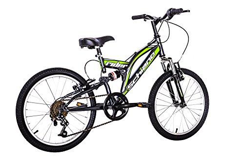 """F.lli Schiano Rider Power 18V Bicicletta Biammortizzata, Antracite/Verde, 26\"""""""