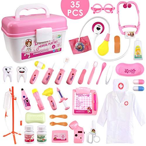 HERSITY 35 Pezzi Valigetta del Medico Kit Dottore Giocattolo con Luci e Suono Gioco di Ruolo per Bambini Rosa
