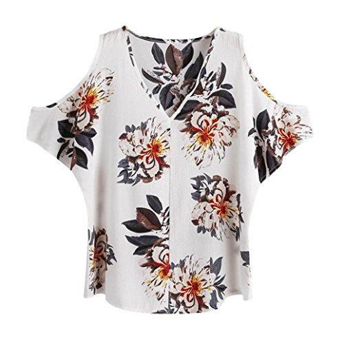 Camicia casual da donna koly camicia a maniche corte a maniche corte con scollo a v a spalla fredda camicia sciolta a righe abbigliamento camicie sportive camicetta a quadri camicetta (white, xl)