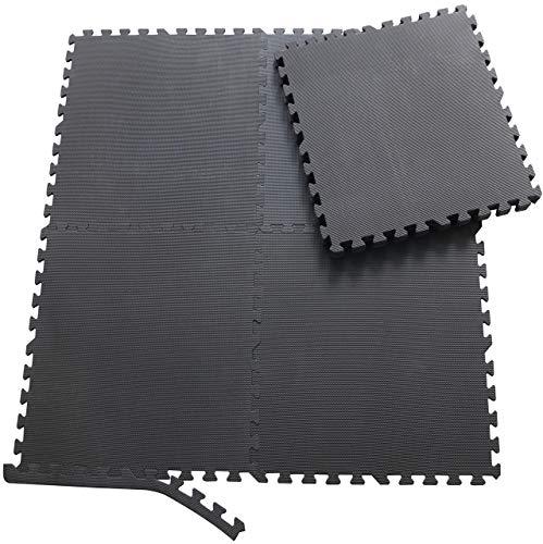 Sporttrend 24 - Schutzmatten Set 6-24teilig schwarz 60x60x10cm | Bodenschutzmatte Unterlegmatte für Fitnessgeräte Sportgeräte (24 Schutzmatten ohne Endstücke, schwarz)