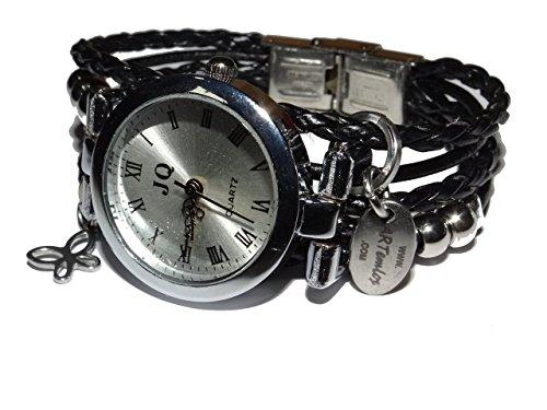 ARTemlos® Handmade Damen-Uhr aus Edelstahl, Metall und Leder in schwarz (Crackle-leder Schwarz)