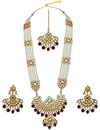 Lucky Jewellery Imperial Pearl With Kundan Gold Plating Necklace Set For Girls & Women