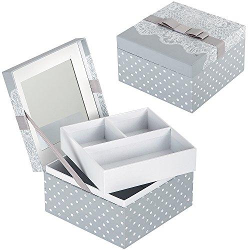 Boîte à Bijoux DENTELLE avec Miroir - Coffret de Rangement pour Femme - Mathilde M