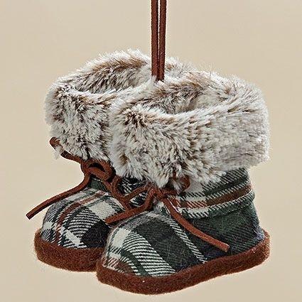 Alpen Deko Rustikal Hänger Tisch Hütten Design Stiefel Harri grün kariert L ca 10 cm