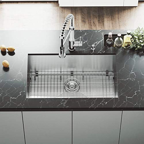 VG3019BK1 Ludlow 30 Inch Undermount 16 Gauge Stainless Steel Single Bowl Handmade Kitchen Sink w/Grid, Strainer. Sound Minimizing Tech. Commercial Satin Finish. 30 inch L x 19 inch W x 10 inch D - Sink Gauge Single Bowl Kitchen 16