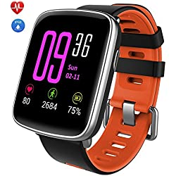 YAMAY Smartwatch, Bluetooth Smart Watch Waterproof IP68 Fitness Tracker Watch with Heart Rate Monitor Pedometer Sleep Monitor Stopwatch SMS Call Notification Remote Camera Music for iOS Android Phone
