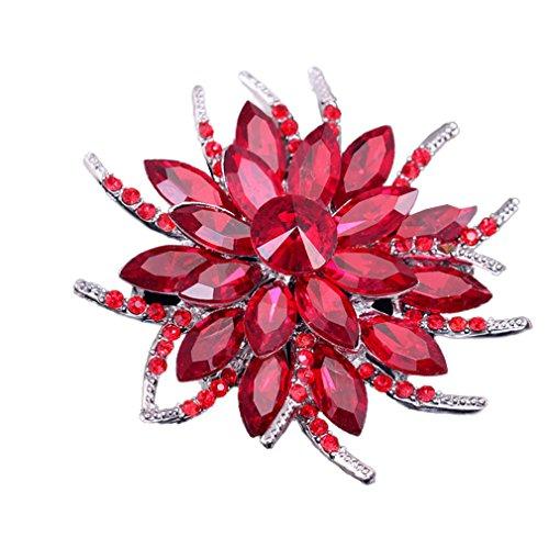 Yazilind Art und Weise große Blume Rhinestones Legierungs-Zirconia-Brosche Corsagee Frauenmädchen Zusätze (rot)