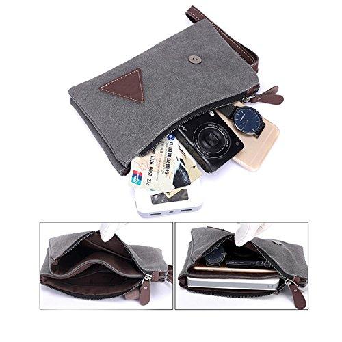 Zipper Canvas Clutch Bag mit Retro Gürtel Dekoration Handgelenk Handtaschen für Männer khaki Khaki