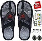 Escor Combo Kit Unisex Acupressure Slippers Sandals for Pain Relief & Total Health Care Useful for Heel Knee Leg Pain Sciatica Cramps Migraine Depression + Reflexology Chart + One Pair Earring Set -UA (05, Black)