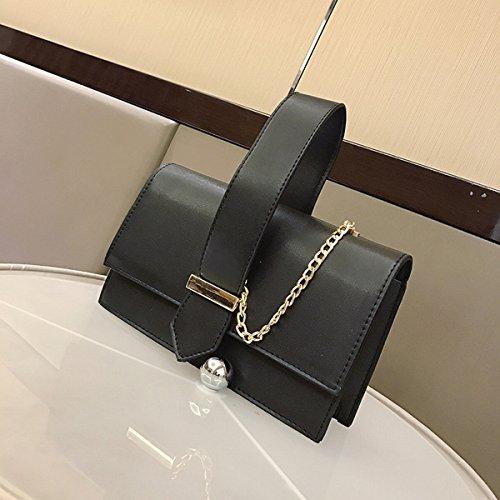 Weibliche einfache und ordentliche ledergürtel Verziert kleine quadratische tasche Schulter messenger bag Schwarz