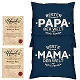 Soreso Design Hochzeitstag Geschenk für Mama und Papa -:- 2 Kissen mit Füllung plus 2 Urkunden im Set -:- Beste Mama der Welt in navy-blau - Bester Papa der Welt in navy-blau
