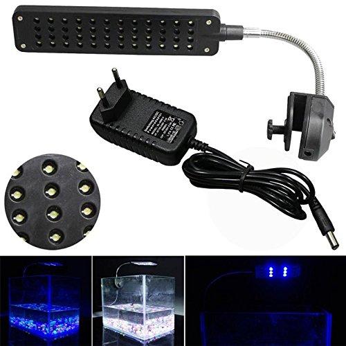Mingdak LED Aquarium Beleuchtung Leuchte Clip Lampe Fish Tank Lampe Klemmleuchte Aquarien Licht Einstellbare Soft Arm Weiß und Blau 48 LEDs Schwarz