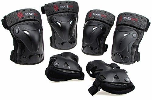SKATEWIZ Protect-1 S Schutzausrüstung mit Protektoren im Set für Kinder von 8 bis 12 Jahre (Schwarz), für Inline Skating, Skateboard, BMX, Hoverboard
