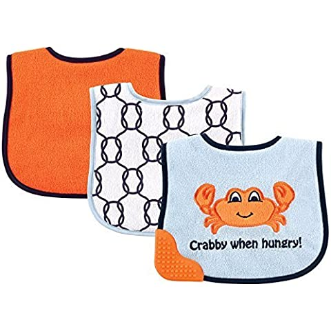 Luvable Friends 3 Piece Feeder Bibs with Teether Bib, Crab by BabyVision