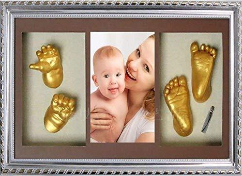 tcatec Baby Abdruckset Bilderrahmen Handabdruck Fußabdruck Clay für Neugeborene Taufgeschenk (Silver Rahmen) (Baby Kit Ornament Handabdruck)
