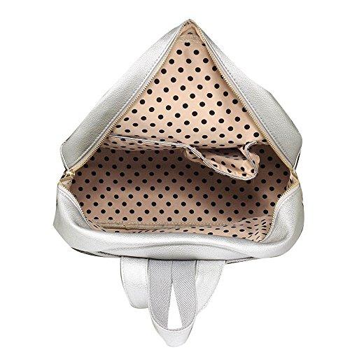 TrendStar Damen Rucksack Umhängetasche Schulrucksäcke Leder Reise Daypacks Tasche Schulranzen A - Silber