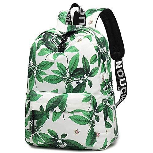 ache Vintage Chinesischen Stil Leinwand Rucksack Frauen Blumendruck Nylontasche Laptop Schultaschen Für Mädchen 29 (cm) X 15 (cm) X 43 (cm) Blätter ()