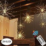 EEIEER Lichterkette Hängen Starburst Licht 200 LED Bouquet Form Lichter Fernbedienung 8 Modi Dimmbare Kupfer Lichterketten Weihnachten, Haus, Terrasse, Innendekoration (Warmweiß)