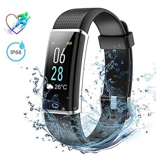 Fitness Tracker IP68 Waterproof, Mpow Heart Rate Monitor ID130Plus Color HR with Colorful LCD Display (5-Level Brightness), 14 Exercise Modes, Weather Forecast, Pedometer, Sleep Monitor