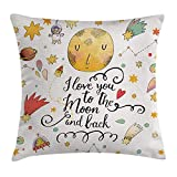 Star Throw Pillow Cushion Cover, I Love You to The Moon and Back Romantic Quotes Cartoon Planets Moon Astronauts, Decorative Square Accent Pillow Case, 18 X 18 Inches, Mustard Brown