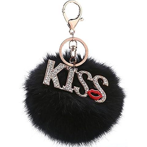 ZPL prettymeet de piel de conejo llavero bolso de mano con Blingbling–Kiss de labios coche llavero llavero, negro