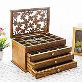 Unbekannt Hochwertige Holz Schmuck Aufbewahrungsbox, Schmuckschatulle, Schublade Schmuckschatulle, Europäischen Schmuck Ring Ohrringe Schmuck Aufbewahrungsbox,6