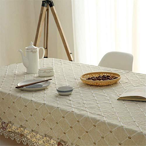 SONGHJ Pastorale Plaid Baumwolle und Leinen Bestickt schlichten Tisch rechteckige Tischdecke Abdeckung Handtuch Kaffeetischdecke B 100x150cm