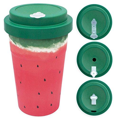 holi. Woodcup Bambusbecher mit Schraubdeckel | Kaffeebecher Mehrweg-Becher | Coffee-To-Go, Bamboo-Cup | lebensmittelecht, recyclebar (Wet Watermelon)