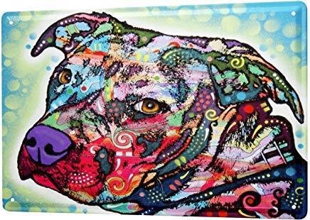 mengliangpu8190 Aluminum Sign, Retro Sign Vintage Tin Sign Metal Wall Plaque Poster Animal Shelter Colorful Pitbull 7
