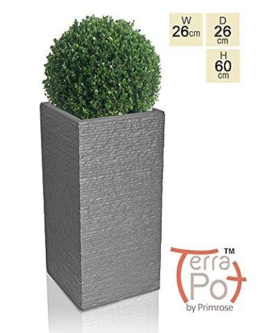 Seville Tall Fibrecotta Planter in Dark Grey Brick Finish -